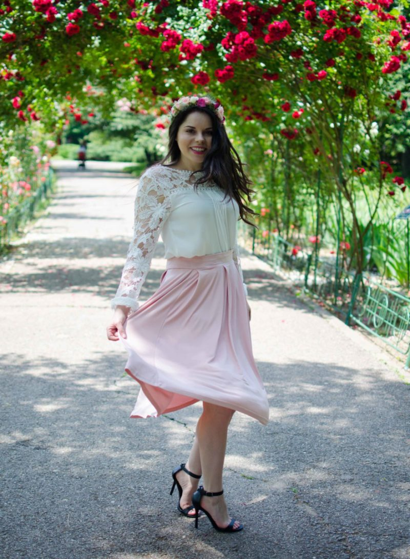 powder pink midi skirt