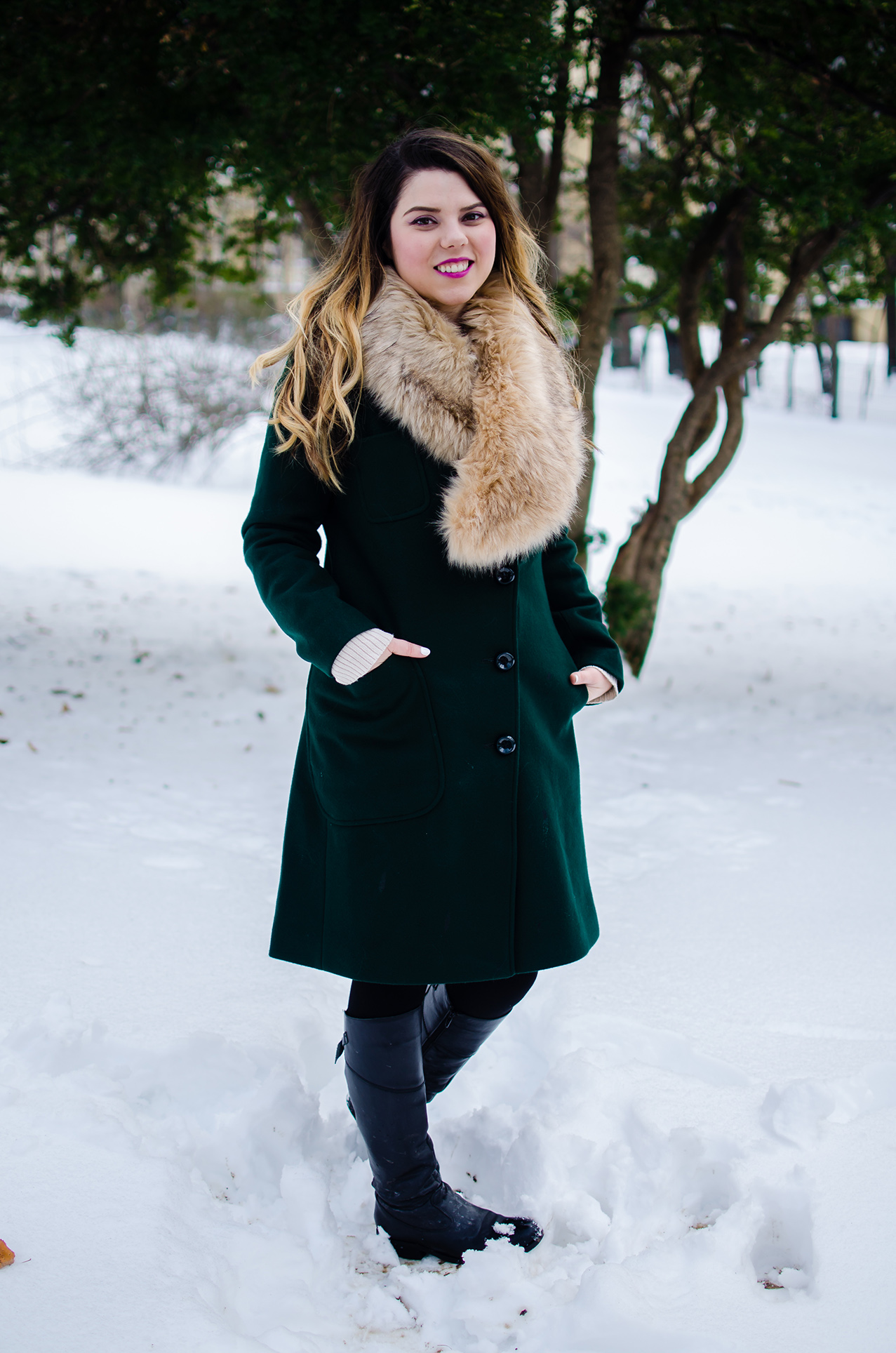 Green Plain Wool Blend Lapel Coat
