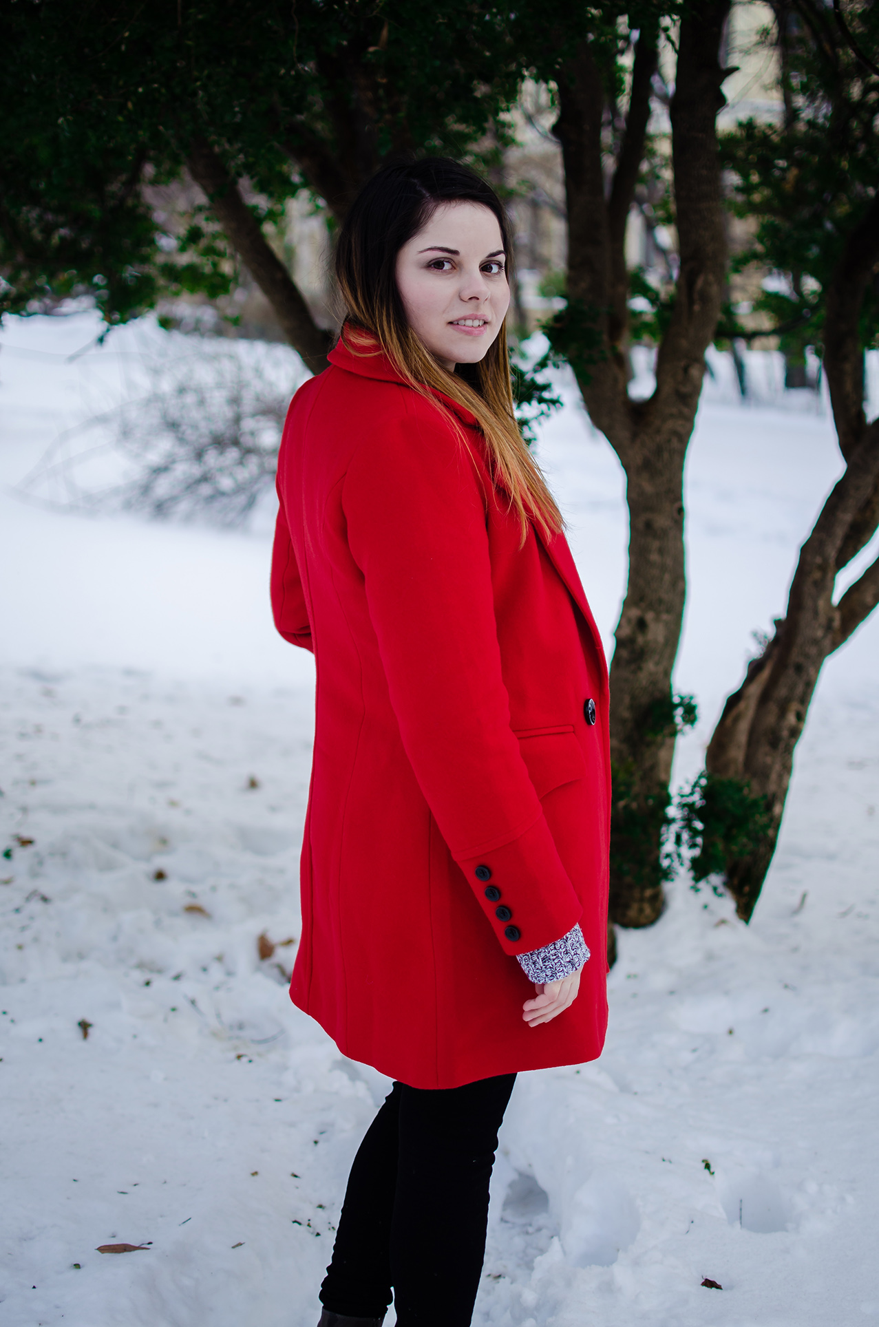 Red Lapel Long Sleeve Plain Coat vip me