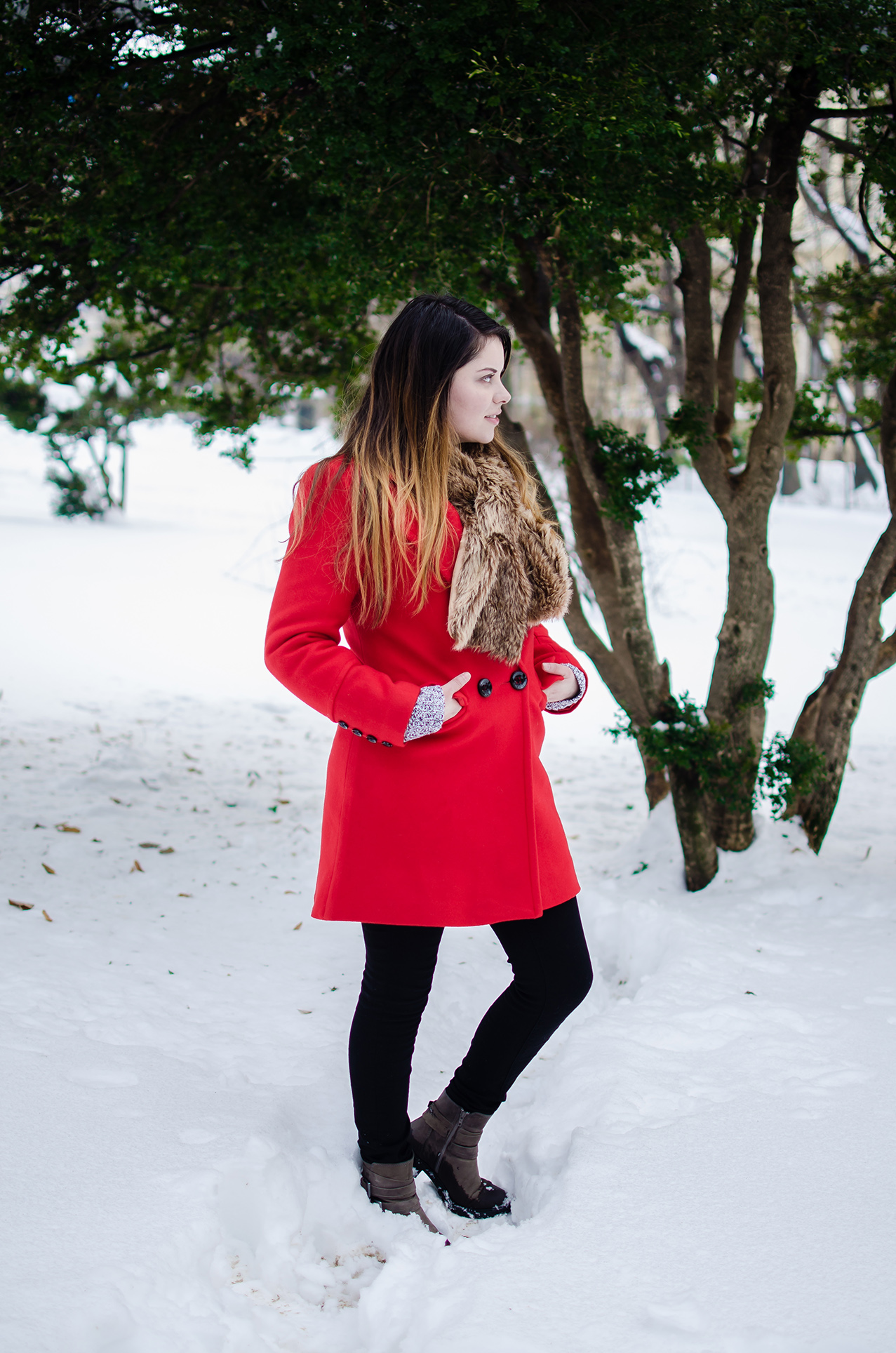 Red Lapel Long Sleeve Plain Coat
