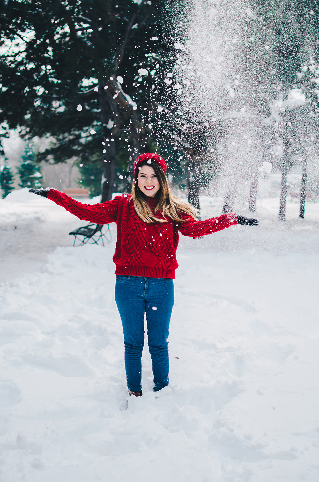 red outfit snow anotherside of me blog