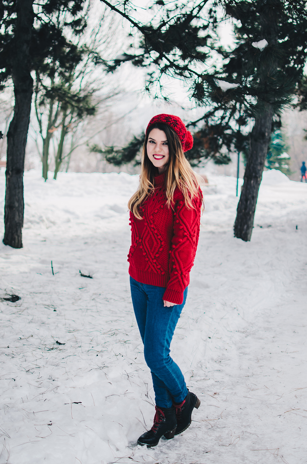 red winter outfit zaful sweater anotherside of me blog