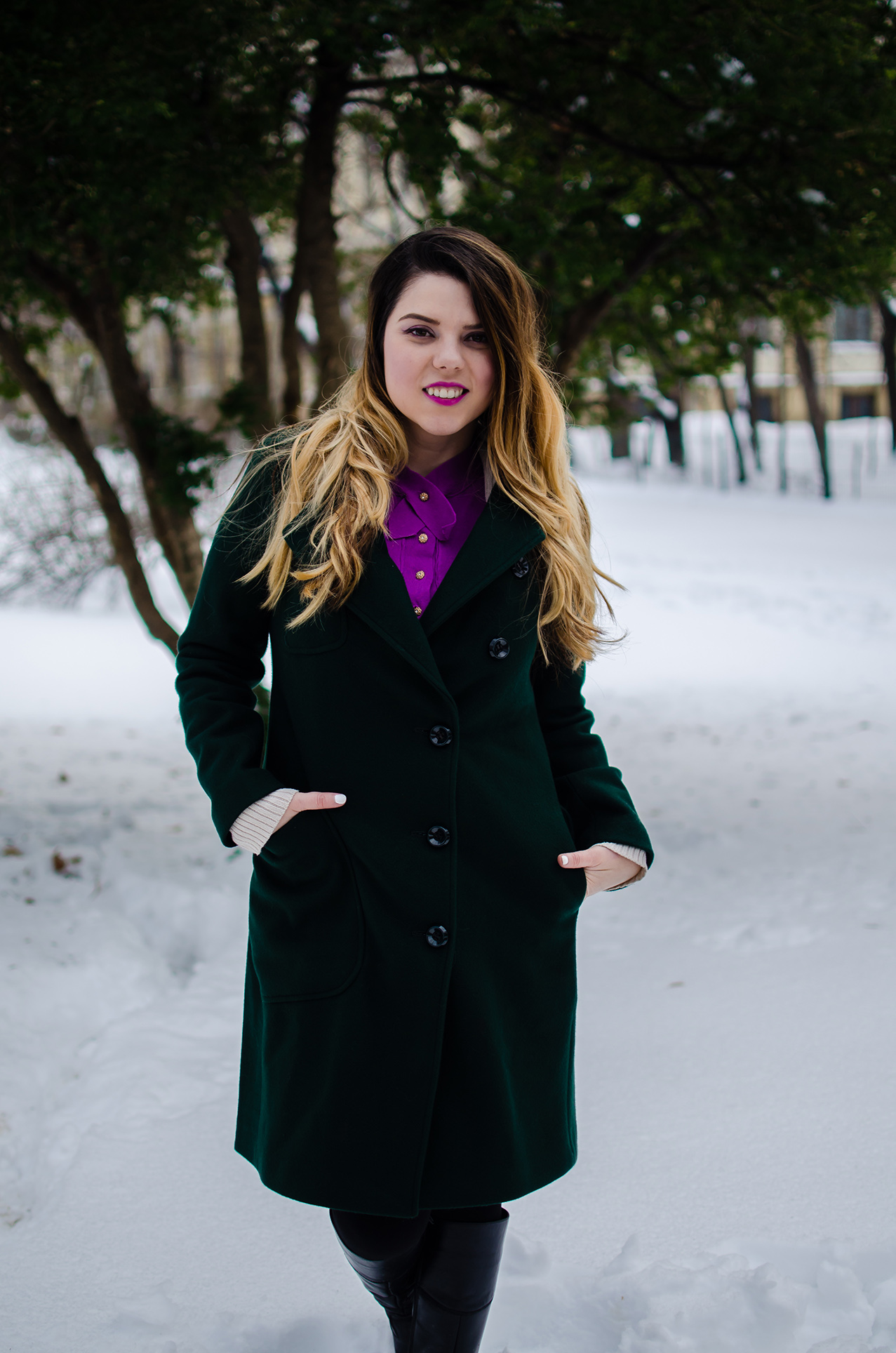 vip me Green Plain Wool Blend Coat