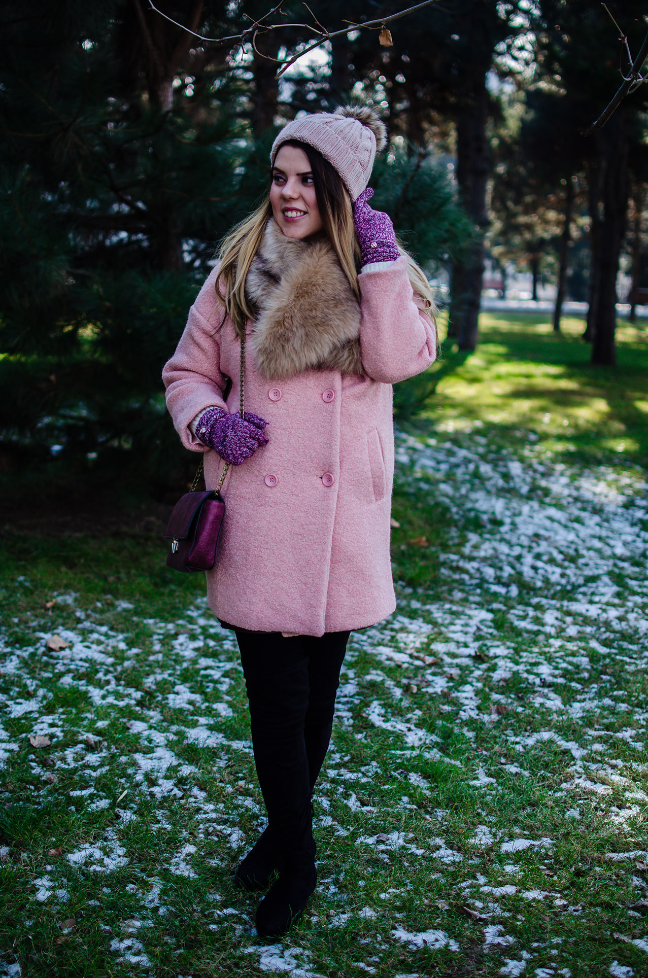 winter outfit pink coat pompon beanie