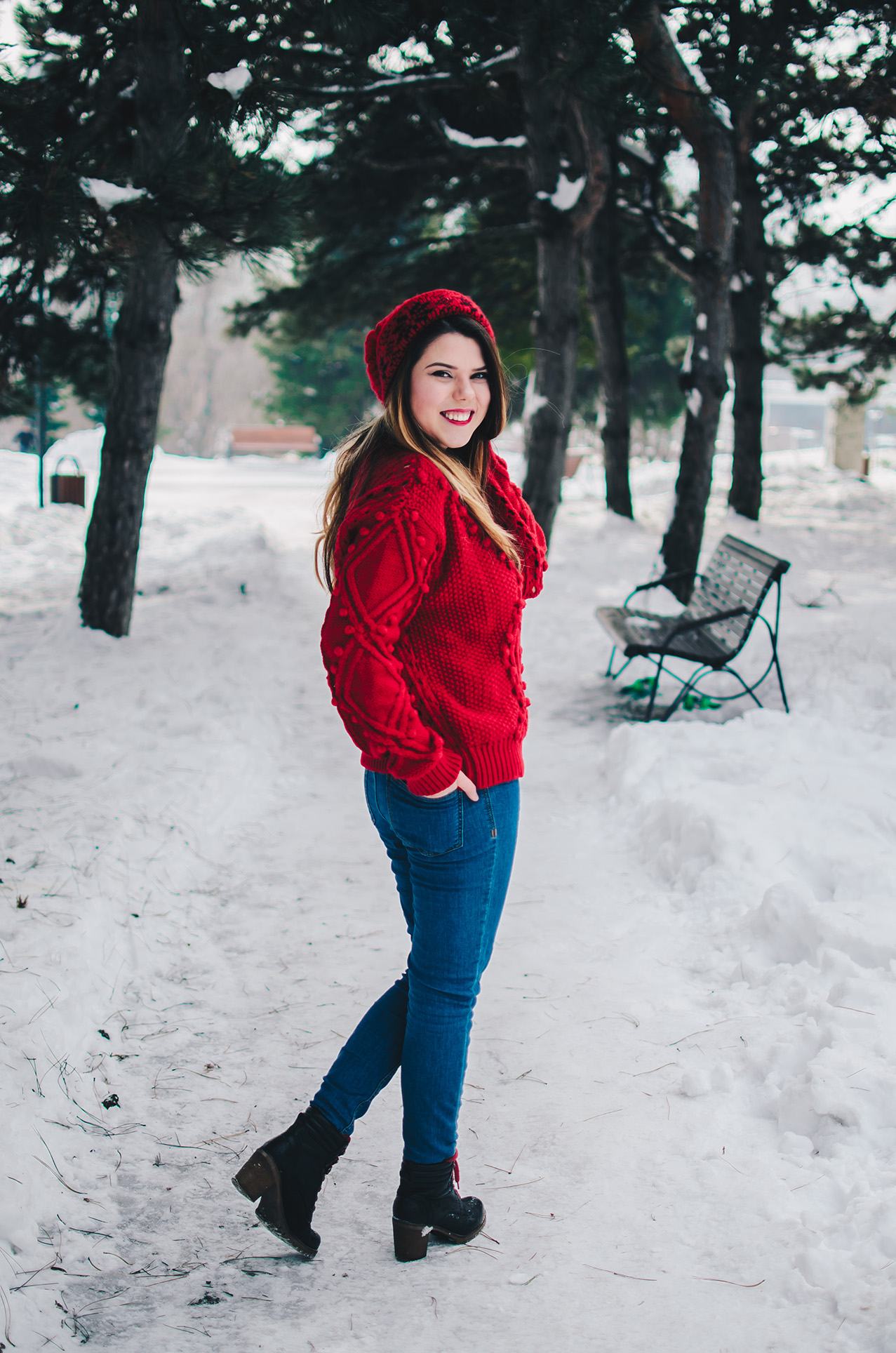winter outfit zaful red sweater