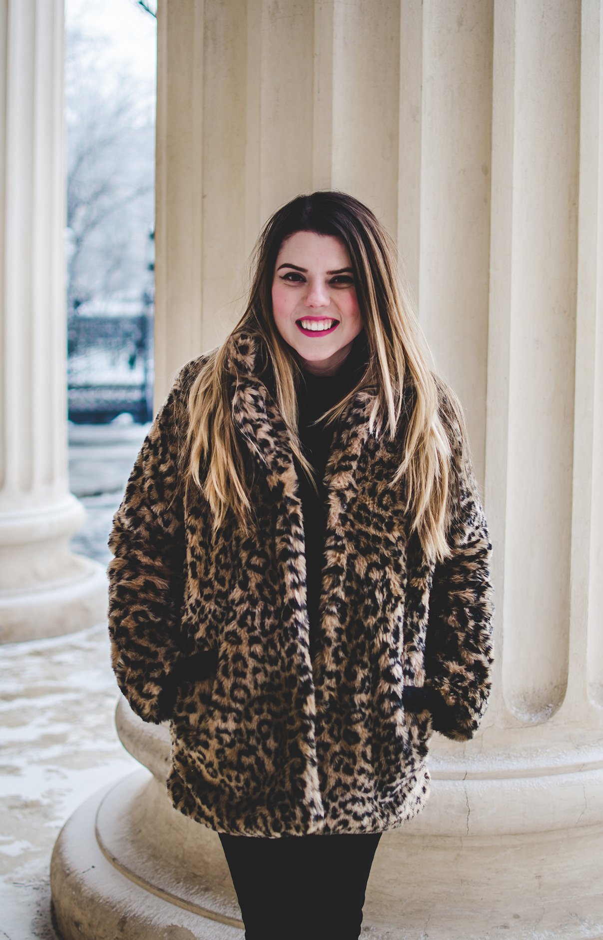 winter outfit leopard print faux fur jacket