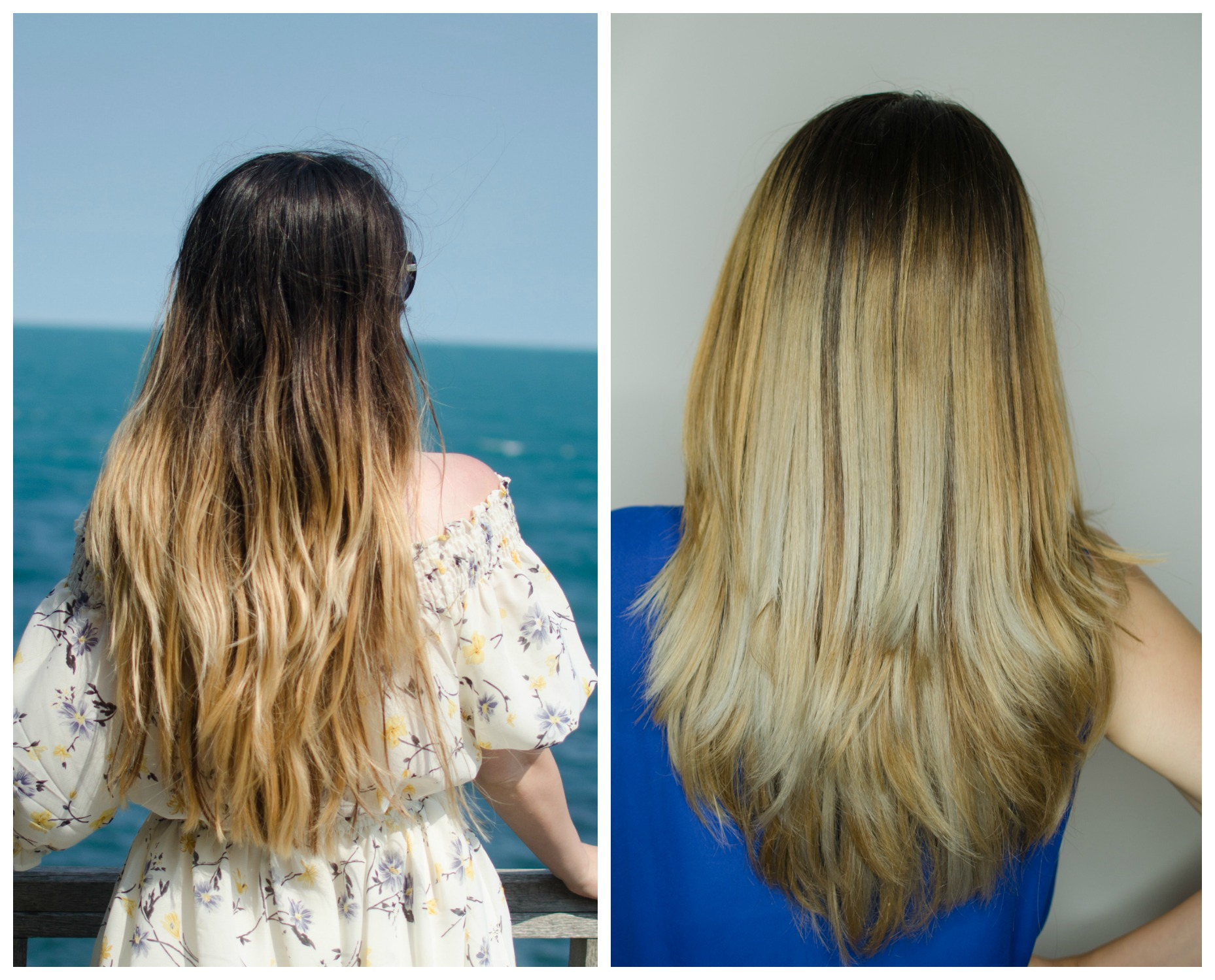 balayage before and after olaplex posh beauty salon