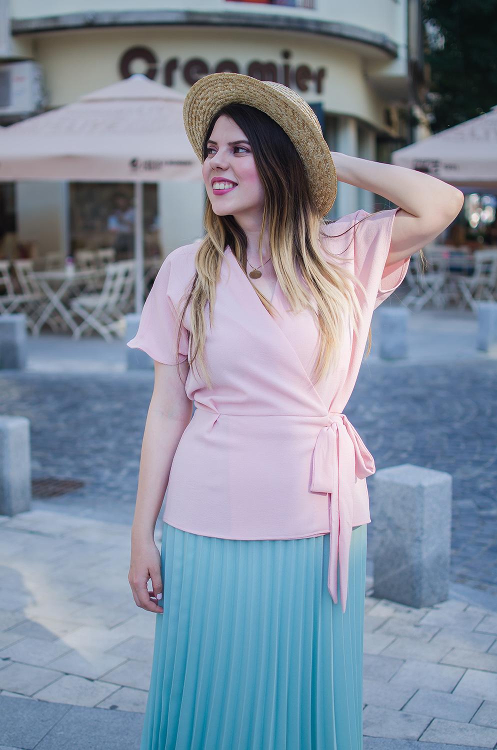 pastel outfit pleated skirt and wrap blouse