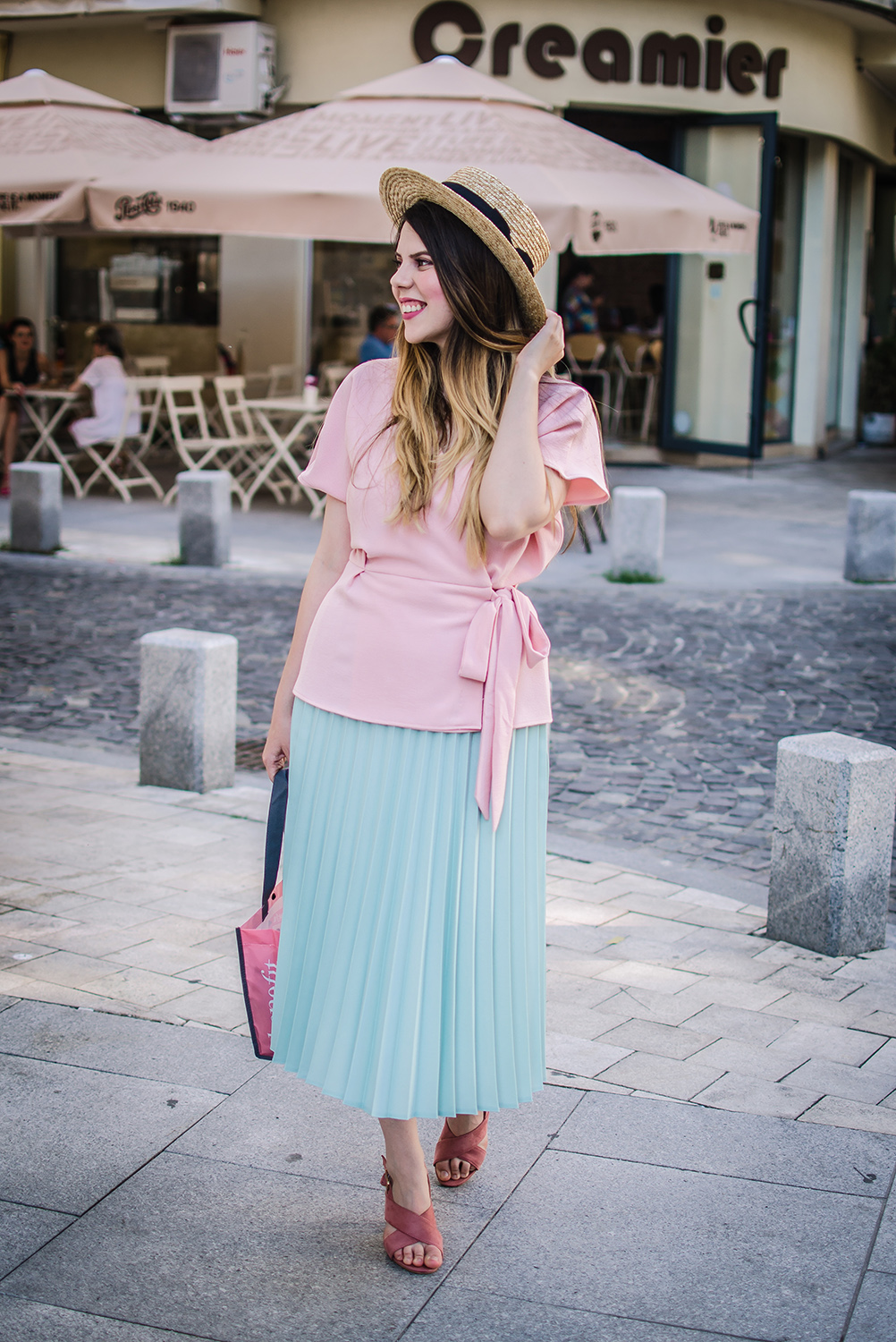 pleated skirt and wrap blouse