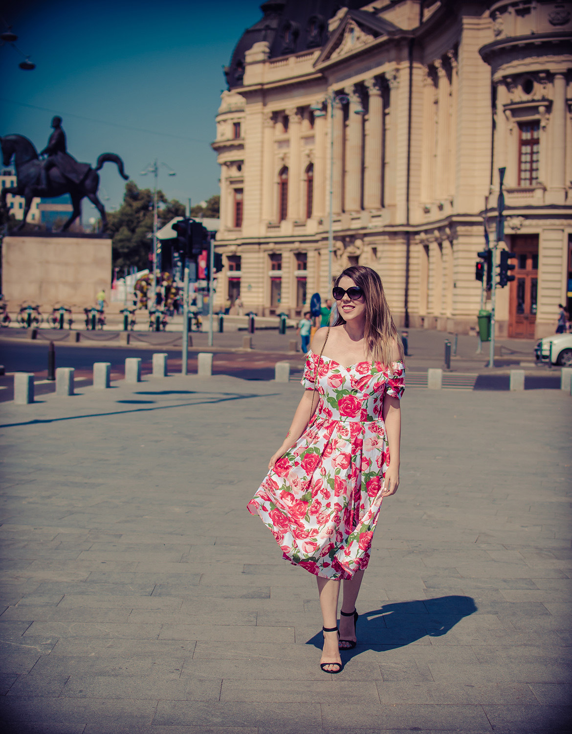 anotherside of me blog Off the Shoulder Roses Vintage Dress