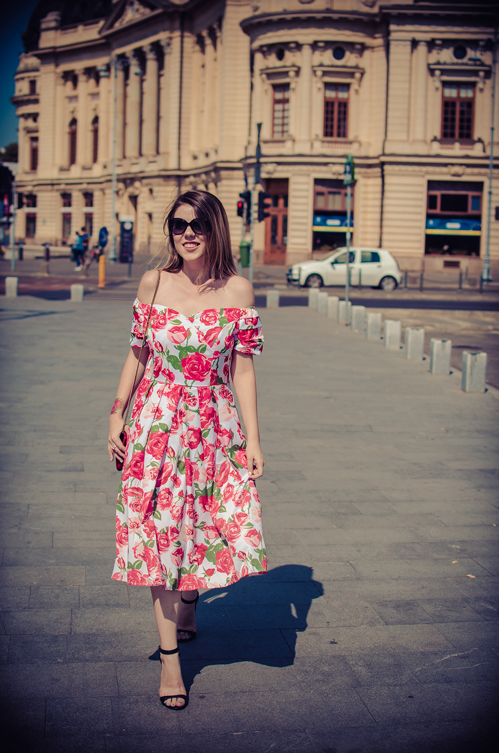 rosegal Off the Shoulder Roses Dress