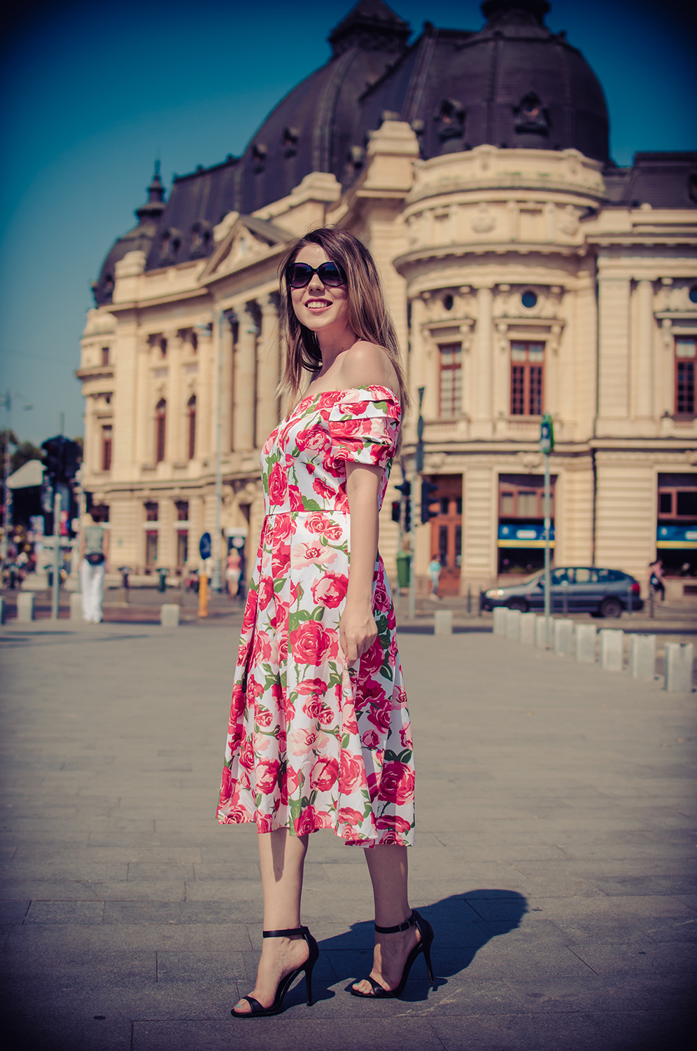 vintage Off the Shoulder Roses Dress