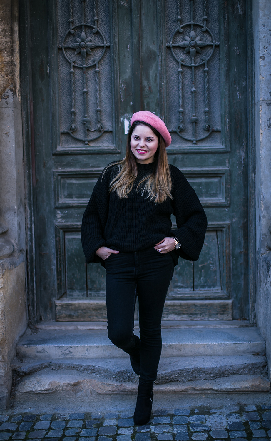 all black outfit and pink beret